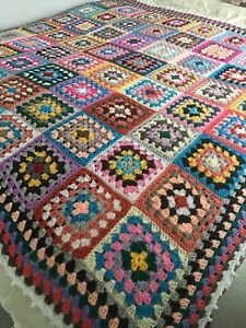 New Handmade Large  Vintage Style Crocheted Granny Blanket 66 Inches Squared
