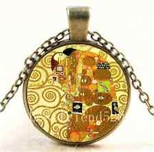 Vintage Gustav Klimt tree of life Glass Cabochon Bronze Chain Necklace