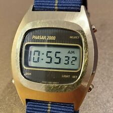 Vintage Men's Phasar 2000 Watch Working New Battery Gold Retro NATO