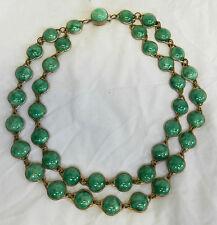 Art Deco Double Strand Linked Bead Peking Glass Necklace - Mottle Green c 1920s