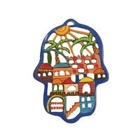 Yair Emanuel Hamsa with Colorful  Jerusalem Wall Hanging Home Protection