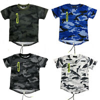 Boys Camouflage Army T-Shirts Camo Short Sleeve Kids Tops Casual