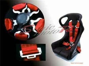 Sonic Motor 5 Point Racing Seat Belt Safety Harness With CamLock Cam Lock - RED