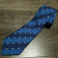 HERMES Paris 100% Silk Tie Model 5275 SA All over Broken H Logo Blue