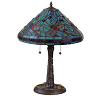 Tiffany-Style Turquoise Blue Dragonfly Table Lamp Stained Glass Shade
