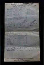 GLAMORGAN v AUSTRALIA CRICKET SCORECARD / ST. HELENS SWANSEA / AUGUST 1953