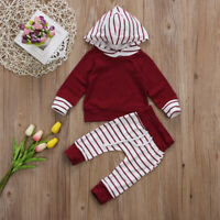 Cute Newborn Baby Boy Girl Unisex Hooded Tops +Pants Outfit Stripe Set Clothes