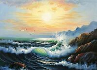 Huge Oil painting charming sunrise seascape with ocean waves sea birds rocks