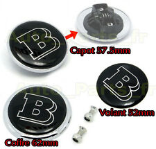 KIT 3 Embleme Coffre + Volant +Capot 57,5mm - LOGO TUNING- BRABUS MERCEDES BENZ
