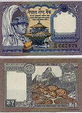 NEPAL billet neuf 1 RUPEE Pick22 1991 temple et cervidees ROI BIRENDRA BIR BIKRA