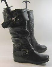 """NEW  Womens Black 1.5"""" Low Hidden Wedge Heel Sexy KNEE  Boots Size 8"""