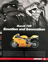 "2003 Ducati 749 Motorcycle photo ""Emotion & Innovation"" vintage print ad"