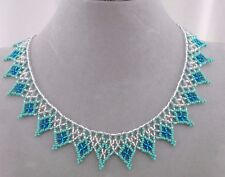 Turquoise Blue and Crystal Czech Glass Bead Lace Necklace Fashion Jewelry NEW