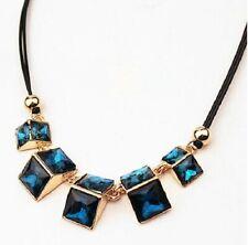 Negro doble cuerda con Tono Oro Collar Cuadrado De Cristal Facetado Turquesa