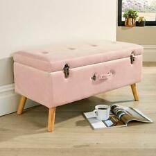James Velvet Blush Ottoman Storage Box Pouffe Seat Stool Footstool Storage Bench