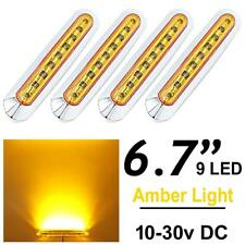 4pcs Amber Side Marker Light 9 LED Truck Trailer Lens Sealed Light DC 10v - 30v