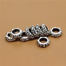 5 Sterling Silver 6-sided Skull Beads 5mm Large Hole for European Bracelet