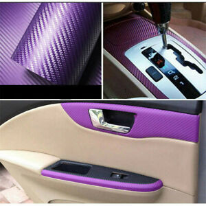 3D Car Purple Carbon Fiber Vinyl Wrap Sticker Interior Accessories Panel