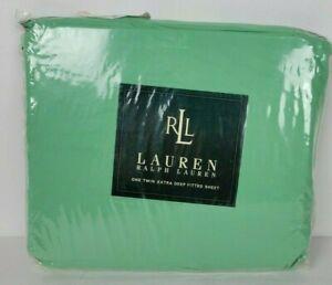 NIP Ralph Lauren Twin Extra Deep Fitted Sheet 250 tc Cotton Mineral Green