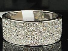 10K White Gold Round Cut Diamond Wide Wedding Band Pave Ladies Fashion Ring 1 Ct