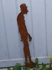 Edelrost Metall Gartenstecker  mann Figur Karl Valentin