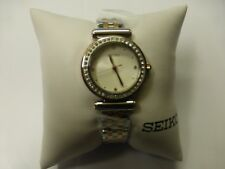 Seiko SRZ466 Women's Two-Tone Rose Gold Watch with Crystals