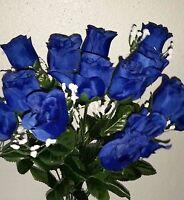 Royal Blue Rose Bud Silk Flower Bush