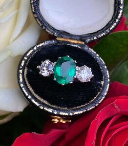 Emerald and Diamond Three Stone Platinum Ring 1.01ct + 1.42ct