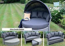 More details for rattan outdoor garden day bed patio sun lounger - aluminium, grey, thick cushion