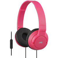 JVC Lightweight Foldable Headphones with In-Line Control & Microphone in Red