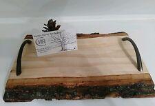 Live edge! Rustic Log Slab Cutting Board/Serving Tray! LOG CABIN DECOR! Poplar!