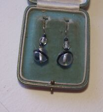 Murano Glass Earrings Art Deco Silver &