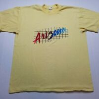 Vtg Arizona T-Shirt Mens M/L Fine T by R&D Grid Spell Out Yellow USA 80s U19