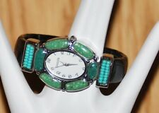 CHICO'S Jade green turquoise beaded jewel CUFF bracelet WATCH NEW need battery