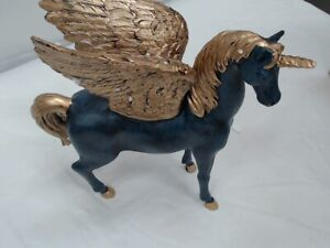 Horse Statue With Wings, Blue/Gold