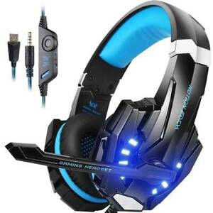 PS4 Headset, INSMART PC Gaming Headset Over-Ear Gaming Headphones with Mic LED
