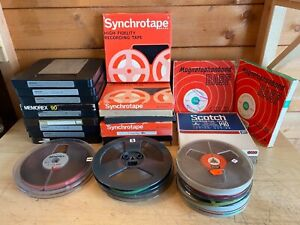 """Collection Of 7"""" & 5"""" Reel To Reel Plastic Tape Spools With Tape"""