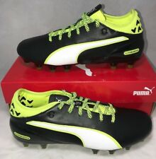 Puma Mens Size 8 Evotouch 2 FG Leather Soccer Cleats Black Safety Yellow