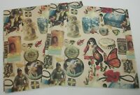 2 Sheets of Vintage Gift Wrap Wrapping Paper Antique Victorian Cats Dogs Tins