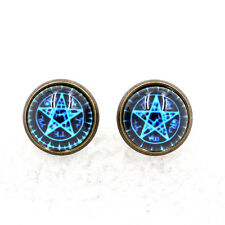 Witchcraft Pentacle Pentagram Star Glass Art Ear Studs Wiccan Pagan Earrings