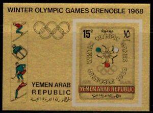Yemen Arab Rep - 1967  Winter Olympic Games (Gold) - Minisheet - imperf - MNH