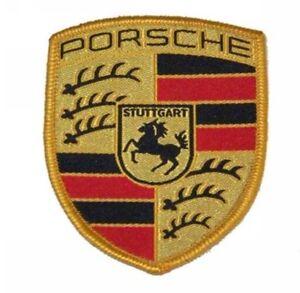 X1 New Genuine Porsche Fabric Sew On Coloured Crest - Seats Overalls Coat