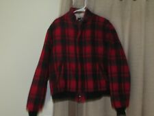 WOOLRICH mens large red gray plaid wool jacket coat fleece lining zip front EUC