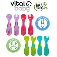 Vital Baby Chunky Cutlery Set Pop Child Weaning Feeding Spoons & Forks Kit 4Pk