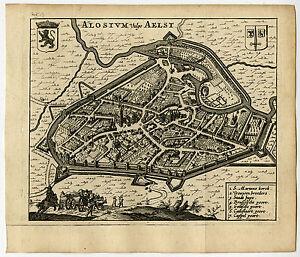Antique Map-AALST-BELGIUM-Guicciardini-1660