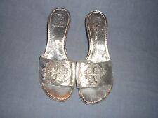 Tory Burch Silver kitten Heels Sandal  Slip On 7 M