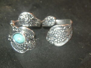 Lot Of 2 Vintage Style Adjustable Silver Turquoise Spoon Rings Sizes 6-10