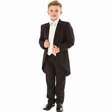 Boys black/Cream Swirl Tailcoat Suit 5 pc wedding suit party pageboy formal