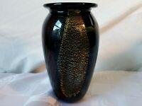 Eickholt Art Glass Vase Gold Blue Purple Dichroic Foil Pattern Signed 1990
