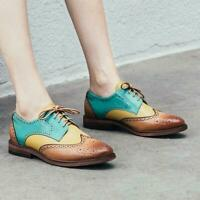 Womens New Retro Fashion Leather Multicolour Lace Up Oxford Brogue Shoes size
